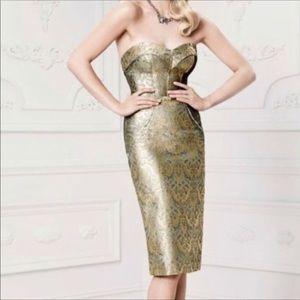 Truly Zac Posen midi Jaquard gold dress